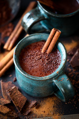 Cup of hot chocolate with a stick of cinnamon and the flakes of grated dark chocolate