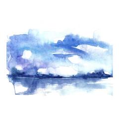 Watercolor blue background. Sky, water, reflection in water, horizon line, silhouette of trees. Country landscape. Abstract background, splash of paint. Watercolor spot