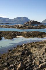 panorama on the coast of henningsvaer at Lofoten in Norway