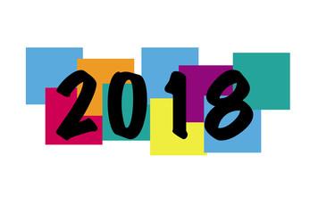 2018 noir sur carrés couleur
