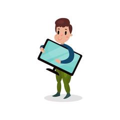 Young man holding computer monitor, harmful habit and addiction cartoon vector Illustration