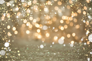 Cute simple Bokeh blurred lights Backgrounds with Snow: Golden Sparkles