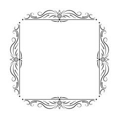 black square frame with floral patterns