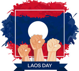 hand fist arm the symbol of laos national awakening day, and laos independence day with flag background red white blue