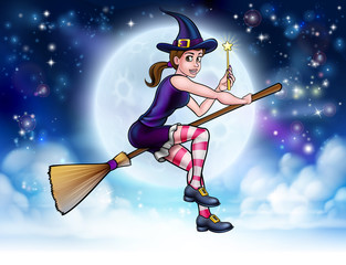 Witch and Magic Wand Halloween Cartoon Character