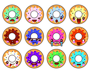 Sweet donut character kawaii with glaze set of emoji facial expressions and activities. Donut emoticon. Funny food stickers, vector cartoon illustration.