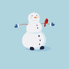 Cute snowman with with the cardinals bird on the hand. Vector cartoon illustration
