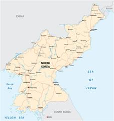 North Korea road vector map