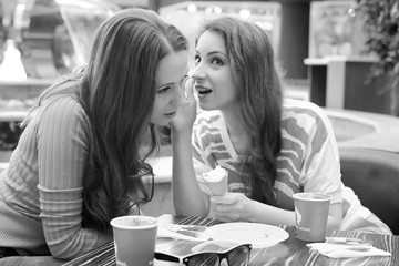 Girls shopping black and white photo