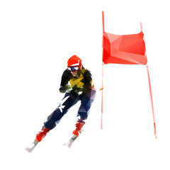 Skiing, downhill skier, abstract geometric vector illustration
