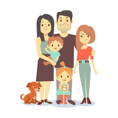 Flat family with pets isolated on white background