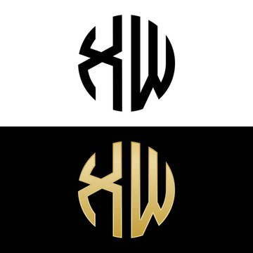 xw initial logo circle shape vector black and gold