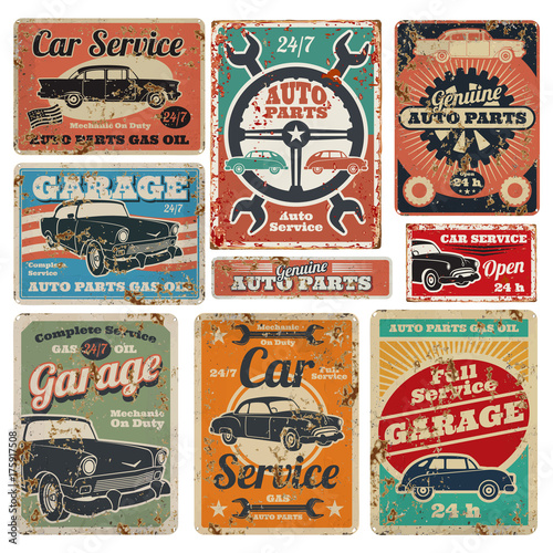 Vintage road vehicle repair service, garage and car mechanic