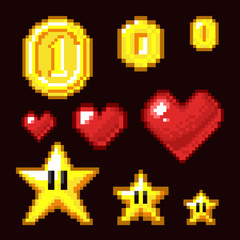 Video game 8 bit assets isolated. Coin, star and heart pixel retro icons in different size