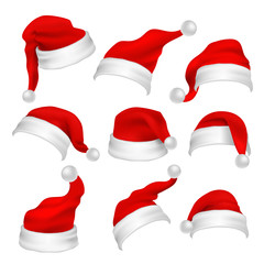 Santa Claus red hats photo booth props. Christmas holiday decoration vector elements
