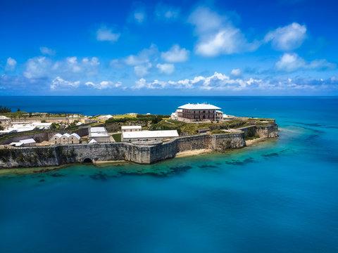 Aerial view of Royal Naval Dockyard, King's Wharf, Bermuda