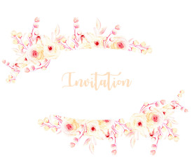 Oval frame border with watercolor pink roses and branches, hand painted on a white background, template floral design for wedding cards