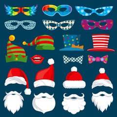 Happy New Year and Christmas holiday paper photobooth props isolated vector set