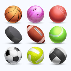 Different 3d sports balls vector collection isolated on white background
