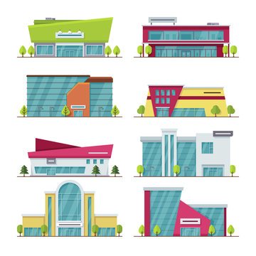 Shopping center, mall and supermarket modern flat vector buildings