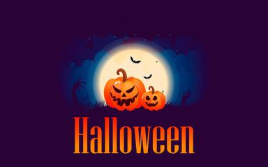 Halloween pumpkins under the moonlight