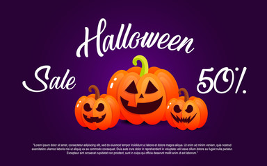 Pumpkin and halloween. Banner sale for holiday
