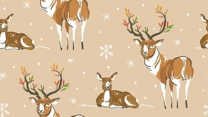 Hand drawn vector abstract cartoon wildlife Christmas seamless pattern with deers family ans snowflakes isolated on craft paper background.