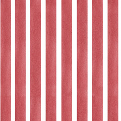 Seamless watercolor painted pattern red stripes