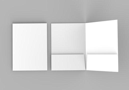 Blank white reinforced pocket folders on grey background for mock up. 3D rendering.