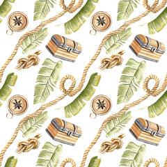 Watercolor hand painted seamless pattern tropical pirate