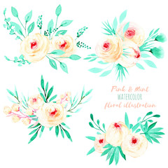 Set of watercolor pink roses and mint leaves bouquets illustration, hand drawn isolated on a white background, for a greeting card, decoration of a wedding invitation
