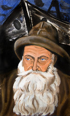 Portrait of an old bearded fisherman. Painting