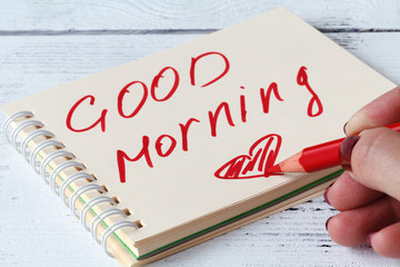 female writer inspiring by good mood and sunny morning