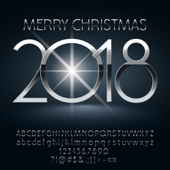 Vector chic Merry Christmas 2018 greeting card with set of letters, symbols and numbers. Silver Font contains Graphic Style