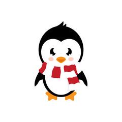 cartoon cute penguin with scarf