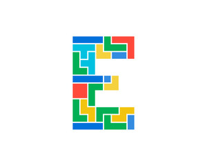 Letter E Puzzle Icon Logo Design Element