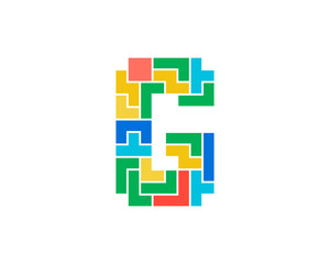 Letter G Puzzle Icon Logo Design Element