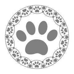 Paw print dog in the ring on a white background.