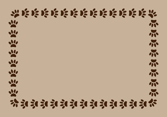 frame paw prints on beige background with copy space for text.