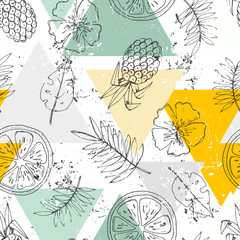 Seamless pattern with tropical fruits and flowers