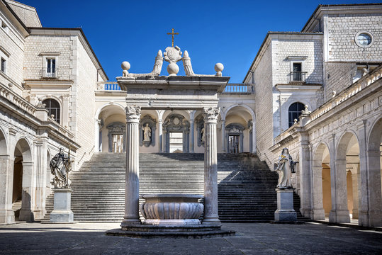 Montecassino, ITALY - FEBRUARY 14, 2017: Interior of the Abbey at Montecassino, The abbey was destroyed by bombing in second World War and rebuilt. Italy