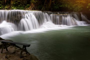 Beautiful Landscape of Waterfall in forest at Huai Mae Khamin Waterfall National Park, Kanchanaburi, Thailand