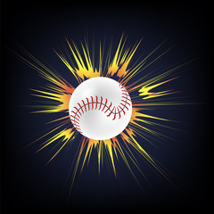 Baseball Ball with Yellow Explosion