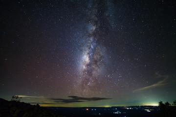 Milky way galaxy at knob stone ground is name Lan Hin Pum viewpoint at Phu Hin Rong Kla National Park in Phitsanulok, Thailand