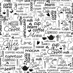 Collection of hand drawn lettering of coffee. Black and white seamless pattern.