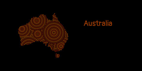 Textured Australia continent in red aboriginal dot art ornament, vector