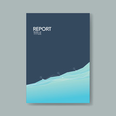 Business report cover template with elegant blue background with simple line graph.