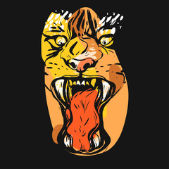 Hand drawn vector abstract graphic drawing of anger tiger face in orange colors isolated on black background.Hand made exotic collage illustration.Wild soul concept.Tigers head isolated.Logo,sign.