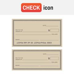 Check template bank. Blank check icon vector