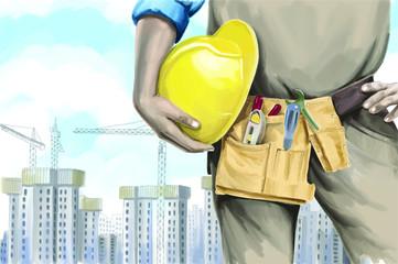 watercolor constructor illustration